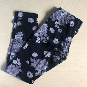 Black, Purple and Grey Floral Garage Leggings
